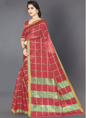 Noble Red Cotton Casual Saree
