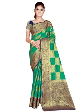 Nylon Green Weaving Traditional Designer Saree