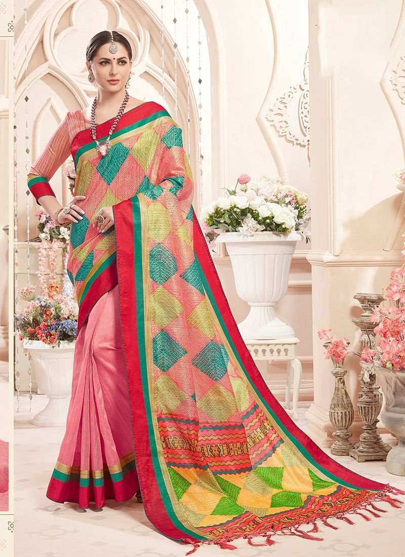Observable Art Silk Multi Colour and Pink Print Classic Saree