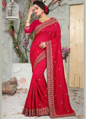 Observable Red Art Silk Traditional Saree