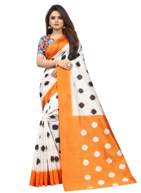 Off White Abstract Print Traditional Saree