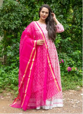 Off White and Pink Block Print Readymade Suit