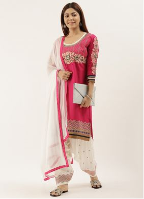 Off White and Pink Festival Punjabi Suit