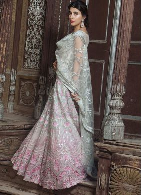 Off White and Pink Net Designer Salwar Suit