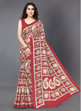 Off White and Red Color Silk Saree