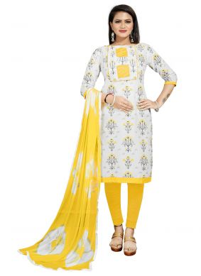 Off White and Yellow Churidar Suit