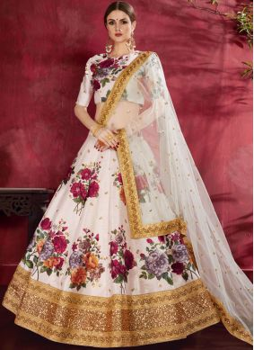 Off White Banglori Silk Ceremonial Lehenga Choli
