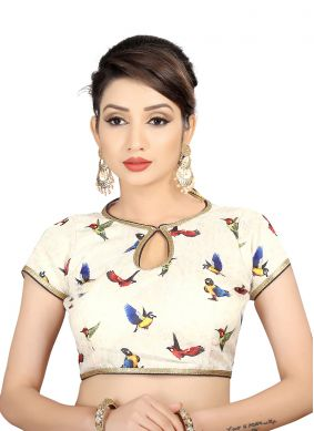 Off White Brocade Party Designer Blouse