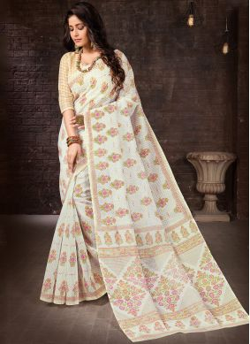 Off White Casual Casual Saree