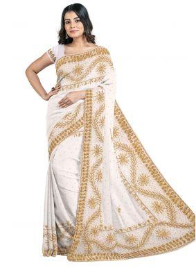 Off White Color Georgette Designer Saree