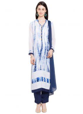 Off White Cotton Printed Readymade Salwar Kameez