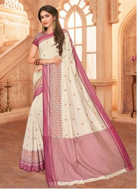 Off White Embroidered Party Classic Saree