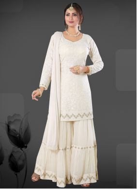 Off White Embroidered Trendy Salwar Suit