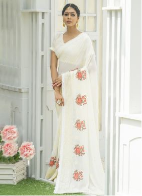 Off White Engagement Designer Traditional Saree