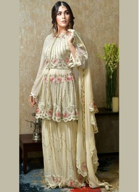 Off White Faux Georgette Designer Suit