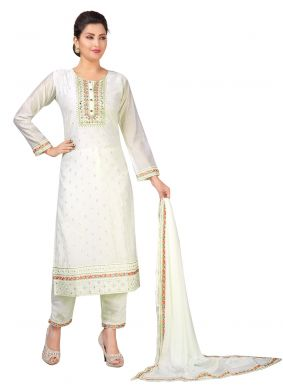 Off White Festival Chanderi Readymade Salwar Suit