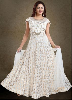 Off White Festival Faux Georgette Readymade Gown