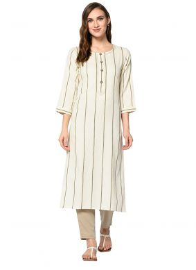 Off White Foil Print Party Casual Kurti