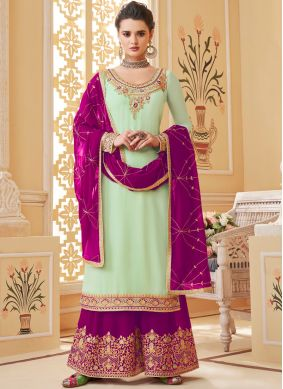 Off White Georgette Embroidered Designer Palazzo Salwar Suit