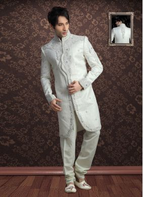 Off White Jacquard Party Indo Western