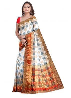 Off White Kanjivaram Silk Sangeet Designer Saree