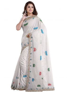 Off White Mehndi Faux Georgette Designer Saree