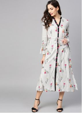Off White Party Casual Kurti