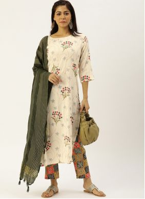 Off White Print Readymade Salwar Suit