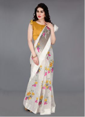 Off White Printed Cotton Contemporary Saree