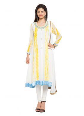 Off White Printed Reception Readymade Anarkali Salwar Suit