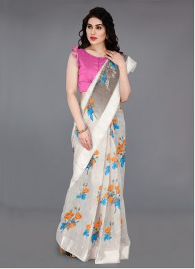 Off White Printed Traditional Saree