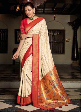 Off White Silk Traditional Designer Saree