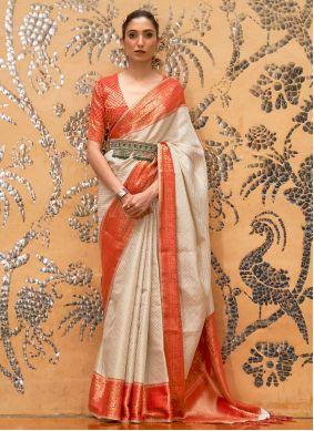 Off White Weaving Silk Traditional Designer Saree