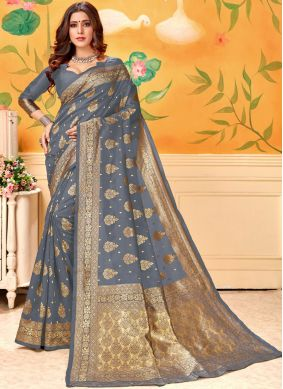 Opulent Grey Sangeet Designer Traditional Saree