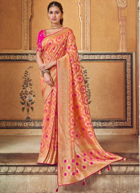 Orange and Peach Party Art Silk Printed Saree