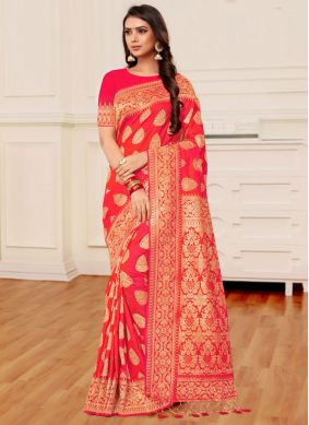 Orange and Peach Reception Designer Half N Half Saree