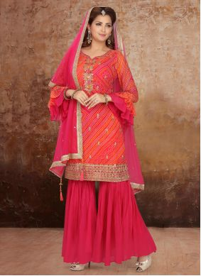 Orange and Pink Georgette Embroidered Readymade Suit
