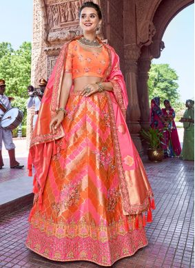 Orange and Pink Party A Line Lehenga Choli