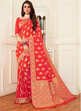 Orange and Pink Weaving Half N Half  Saree