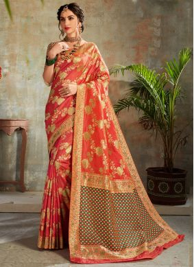 Orange and Red Party Silk Trendy Saree