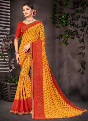 Orange and Red Faux Georgette Printed Casual Saree