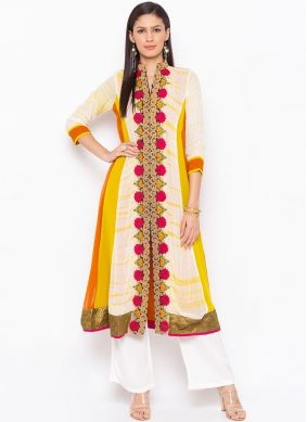 Orange and White Embroidered Festival Party Wear Kurti