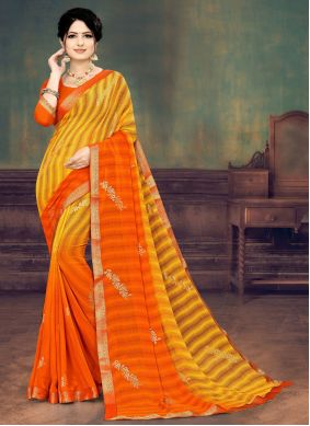 Orange and Yellow Faux Georgette Festival Shaded Saree