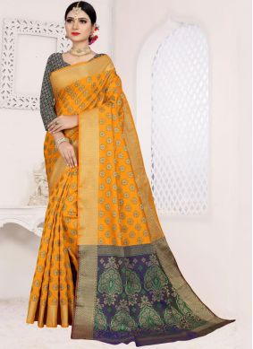 Orange Art Silk Cotton Weaving Casual Saree