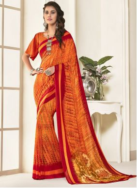 Orange Art Silk Reception Saree