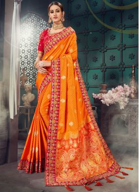 Orange Bhagalpuri Silk Classic Saree