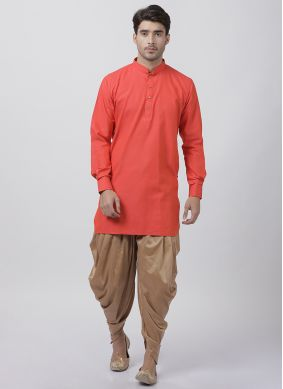 Orange Blended Cotton Ceremonial Dhoti Kurta