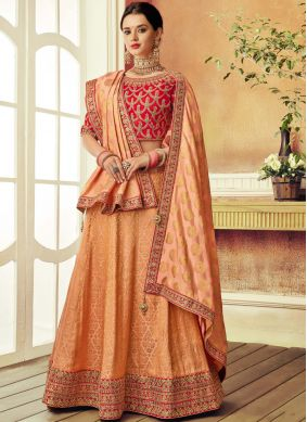 Orange Brocade Patch Border Lehenga Choli