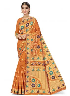 Orange Ceremonial Banarasi Silk Traditional Designer Saree
