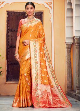 Orange Ceremonial Classic Saree